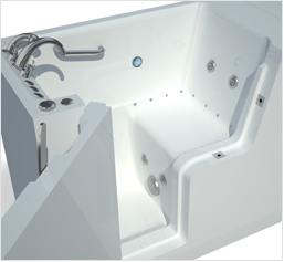 Wheelchair accessible walk-in tub seat
